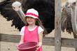 Leinwanddruck Bild - Kleines Mädchen füttert Strauß