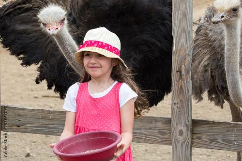 Leinwanddruck Bild Kleines Mädchen füttert Strauß