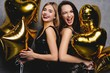 Party Fun. Beautiful Girls Celebrating New Year. Portrait Of Gorgeous Smiling Young Women Enjoying Party Celebration, Having Fun Together. High Quality Image.
