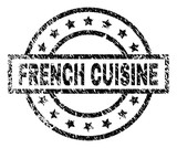 FRENCH CUISINE stamp seal watermark with distress style. Designed with rectangle, circles and stars. Black vector rubber print of FRENCH CUISINE tag with scratched texture. - 232869260