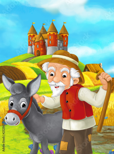 Cartoon scene with farmer and donkey working in the field standing near the castle - illustration for children - 232869200