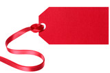 Red gift tag or label with ribbon isolated on white background - 232871285