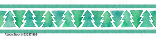 Decorative seamless border with cute fir tree shapes. For washi tape, wrapping paper, textile, greeting cards design. Hand painted water color gradient drawing with isolated graphic elements on white.