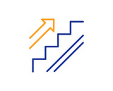 Stairs line icon. Shopping stairway sign. Entrance or Exit symbol. Colorful outline concept. Blue and orange thin line color icon. Stairs Vector - 232886652