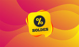 Soldes - Sale in French sign icon. Star with percentage symbol. Wave background. Abstract shopping banner. Template for design. Vector - 232887202