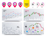 Financial planning charts. Sale icons. Special offer speech bubbles symbols. Big sale and best price shopping signs. Cryptocurrency stock market graphs icons. Trendy design. Vector - 232887258