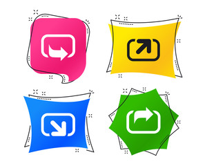 Action icons. Share symbols. Send forward arrow signs. Geometric colorful tags. Banners with flat share icons. Trendy design. Vector