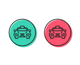 Taxi cab transport line icon. Car vehicle sign. Taxicab driving symbol. Positive and negative circle buttons concept. Good or bad symbols. Taxi Vector - 232888833