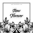 Vintage floral frame for now forever vector illustration collection
