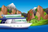 Boat on lake scene - 232896422