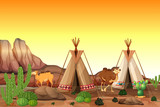 Desert scene with tents and camels - 232896475