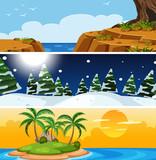 Set of nature different season - 232901051