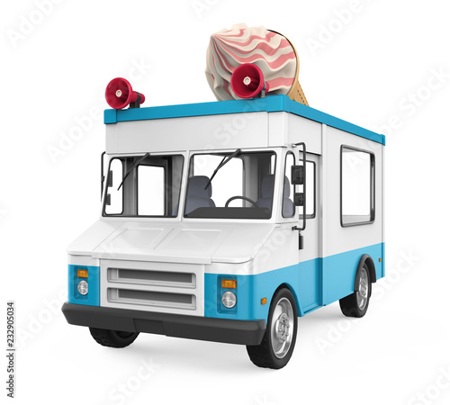 Wall mural Ice Cream Truck Isolated