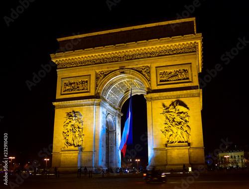 fototapeta na ścianę The arc de Triomphe at night in the Place de Etoille, Paris