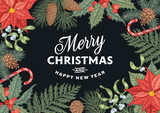 Engraving Christmas card with traditional decorations.