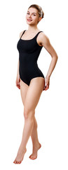 Full length woman posing in black one-piece swimsuit. © llhedgehogll