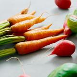Fresh carrots bunch set vegetables gray background - 232912853