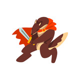 Warrior dog character fighting with sword and shield vector Illustration on a white background
