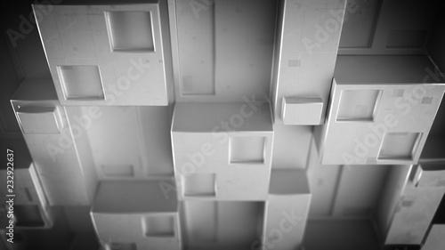 Futurystyczny panel szary techno z sześciennych klastrów 3D render
