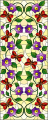 Illustration in stained glass style with abstract curly purple flower and a red  butterfly on yellow background ,vertical image © Zagory
