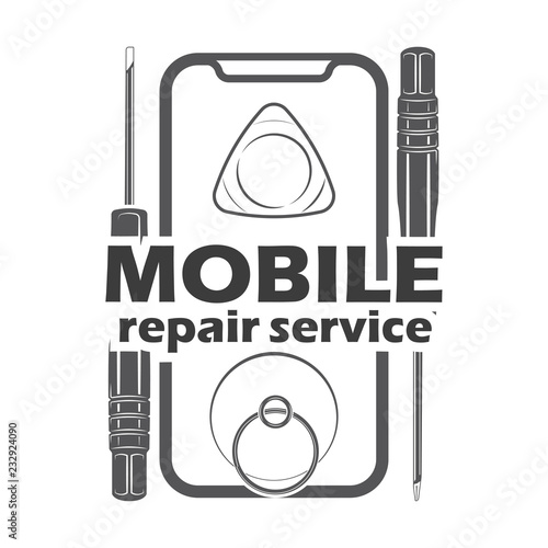 Mobile repair service logotype and badge on white background