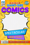 Comic book cover. Vintage comics magazine layout. Cartoon title page vector template. Comic book anf front page magazine illustration - 232925897
