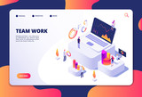 Team work concept. People work with finance charts and graphs. Business data analysis and optimization. Landing web page vector design. Business teamwork page with graphic chart illustration - 232926246