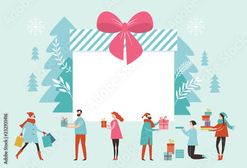 bif gift box christmas banner new year greeting card small people and big