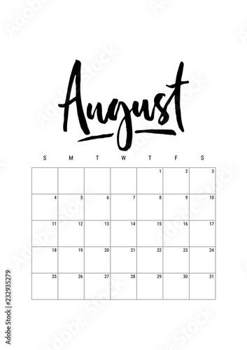 August Calendar Planner 2019 Week Starts On Sunday Part Of Sets