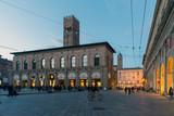 BOLOGNA, ITALY - OCTOBER 30, 2018: main square and King Enzo palace at night - 232943245