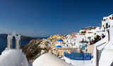 Santorini, Greece. Picturesque view of traditional cycladic Santorini houses on cliff - 232946218