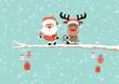 Card Santa Gift Pulling Rudolph Sleigh Tree Retro