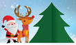 Merry Christmas Santa Claus and Deer T paper cut background card - 232948623