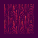 Pine tree forest illustration