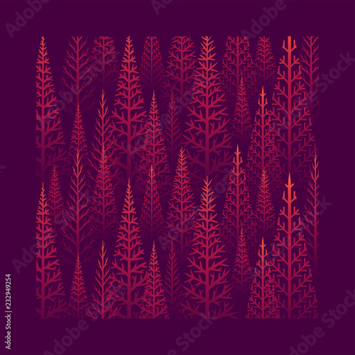 Pine tree forest illustration © pikolorante