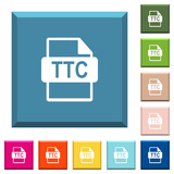 TTC file format white icons on edged square buttons - 232950268