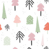 Winter forest seamless pattern. Cute holiday background. Vector hand drawn illustration. - 232950850