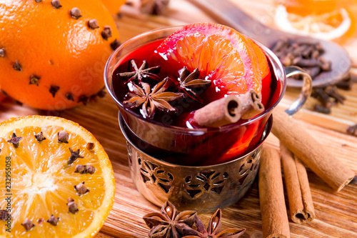 Wall mural Christmas mulled wine with spices.