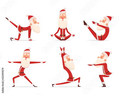 Poster Santa yoga relax. Winter cute healthy christmas holiday santa claus outdoor doing sport yoga exercises vector characters. Claus yoga to christmas and new year illustration