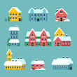 Winter houses. Urban xmas holidays snowy city snowflakes on the house roof vector cartoon set. Xmas house with snow, city urban decorated home illustration