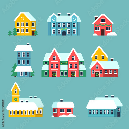Poster Winter houses. Urban xmas holidays snowy city snowflakes on the house roof vector cartoon set. Xmas house with snow, city urban decorated home illustration