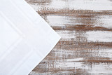Old vintage wooden table with white tablecloth. Top view mockup. - 232962486