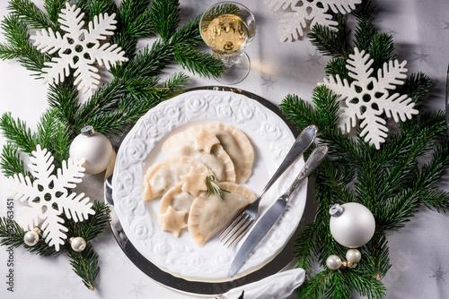 Polish style dumplings filled with sauerkraut and mushrooms - 232963451
