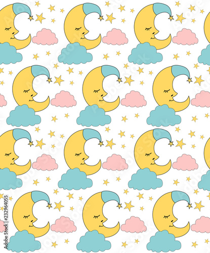 fototapeta na ścianę Cute Baby seamless pattern. Editable vector illustration