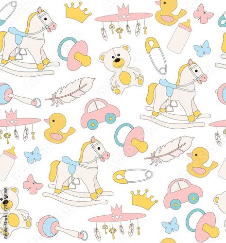 Cute Baby seamless pattern. Editable vector illustration