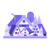 Snowy winter village icon. Alp countryside with snow farm houses, wooden cabins and chalets by wintertime. - 232968207