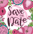 Save the date invitation card with fruit and flowers. Wedding invitation. Love you card. Editable vector illustration - 232972864