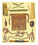 Ancient detailed ethnic collection of african accessories, coast of Dutch New Guinea, isolated elements. By F.S.A. De Clercq and J.D.E. Schmeltz Leiden 1893 New Guinea - 232973012