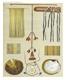 Ancient detailed ethnic collection of african accessories and objects coast of Dutch New Guinea, isolated elements. By F.S.A. De Clercq and J.D.E. Schmeltz Leiden 1893 New Guinea - 232973044