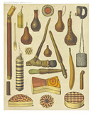 Ancient detailed ethnic collection of african objects and tools, coast of Dutch New Guinea, isolated elements. By F.S.A. De Clercq and J.D.E. Schmeltz Leiden 1893 New Guinea - 232973076